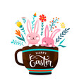 happy easter greeting two vector image