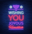 happy hanukkah a greeting card in a neon style vector image