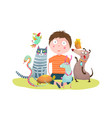 kid boy and pet shop vector image vector image