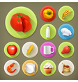 Kitchen and Cooking long shadow icon set vector image vector image