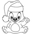outlined christmas waving teddy bear vector image