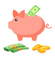 piggy bank coins bills deposit icon vector image