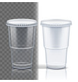 plastic cup transparent empty disposable vector image vector image