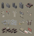 post apocalypse city isometric set