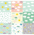 rain and clouds seamless patterns vector image vector image