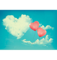 Retro Holiday background with heart shaped cloud vector image vector image
