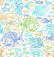 seamless colourful doodles fish pattern vector image vector image