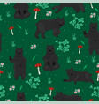 seamless pattern with bears and fly agarics vector image vector image