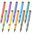 set of multi-colored pens vector image vector image