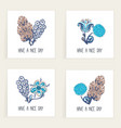 set of square cards hand drawn creative abstract vector image