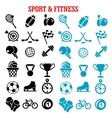 Sport and fitness icons set with items vector image