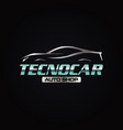 techno car logo symbol icon with elegant silver vector image vector image