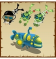 Three divers and submarine cartoon characters vector image vector image