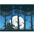 to moon night in dark wood vector image vector image