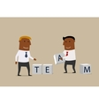 Two businessmen composing word Team from cubes vector image