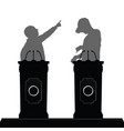 two man silhouette debate on platform vector image vector image