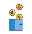 wallet money coins dollar currency vector image vector image