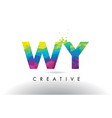 wy w y colorful letter origami triangles design vector image vector image