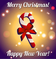 Christmas candy with bow New Year greeting card vector image