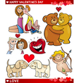 valentine cartoon love set vector image