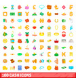 100 cash icons set cartoon style vector image vector image