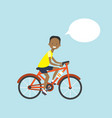 african american man cycling chat bubble character vector image