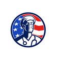 american doctor surgical mask usa flag circle icon vector image vector image