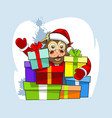 baby bull in santa claus clothes and a lot vector image