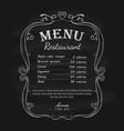 blackboard restaurant menu vintage hand drawn vector image vector image