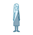 blue color silhouette shading of woman standing vector image