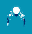 business person exchanging question and idea vector image vector image