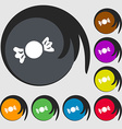 candy icon sign Symbols on eight colored buttons vector image