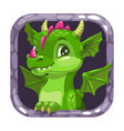 cartoon app icon with funny green young dragon vector image vector image