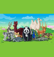 cartoon asian animals template vector image vector image