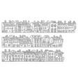 cartoon vintage houses stripes set vector image