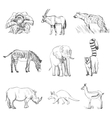 character design set animals silhouettes vector image