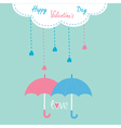 Cloud with hanging rain drops Valentines Day vector image vector image