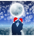 couple over background with moon and snowflakes vector image vector image