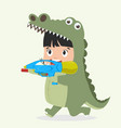 cute kid crocodile costume with water gun vector image vector image