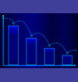 decreasing bar graph with blue arrow isometric vector image