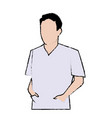 doctor man wearing coat and hand in pocket vector image