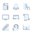 documentation monitor and edit statistics icons vector image vector image