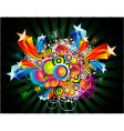 fantasy circles and star background vector image vector image