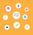 flat icons scheme pen screen and other vector image vector image