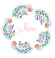 Floral circle frame with roses - watercolor style vector image vector image