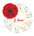 frame with hand drawn red poppies and i vector image vector image