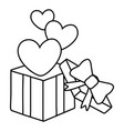 gift box with heart icon black and white vector image