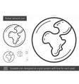 Global network line icon vector image vector image