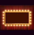 gold frame with light bulbs on red velvet curtain vector image vector image