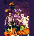 greeting card for halloween trcik or treat vector image vector image